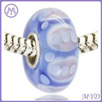 cheap hollow murano lampwork company logo bead made in China