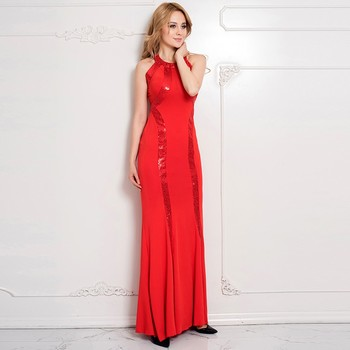 Hot Red Sequined Long Cutout Prom Hand Embroidery Designs For Dress