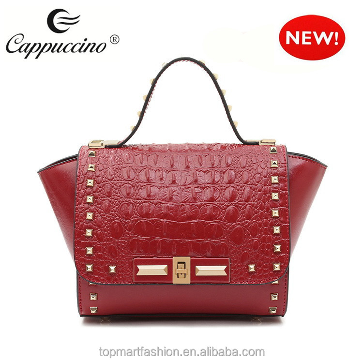 New Design Brand Names Italian Embossed Crocodile Genuine Leather Handbags Purse Hobo Bag And Satchel