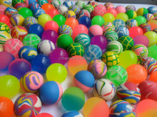60mm mixed color rubber bouncing ball
