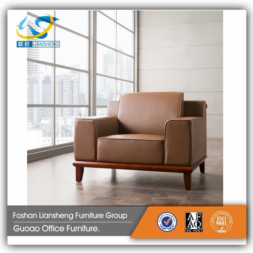 Modern 5 Seater Leather Sofa Set New Style Teak Wood A522
