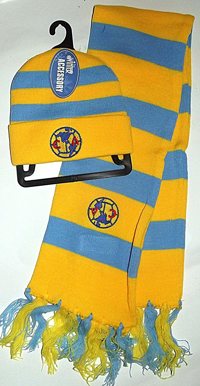 Youth Blue   Yellow FMF Soccer Club America Embroidered Scarf   Beanie ... de9f4da8f