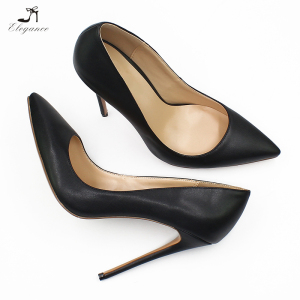 Elegant Classic Handmade Genuine Leather Shoes Women Pointed Toe Thin Stiletto High Heels Pumps