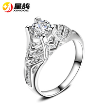 New Collection Copper Silver Plated Bridals Rings Brilliant Stackable Ring Clear CZ Diamond Ring Fashion Jewelry Anillos