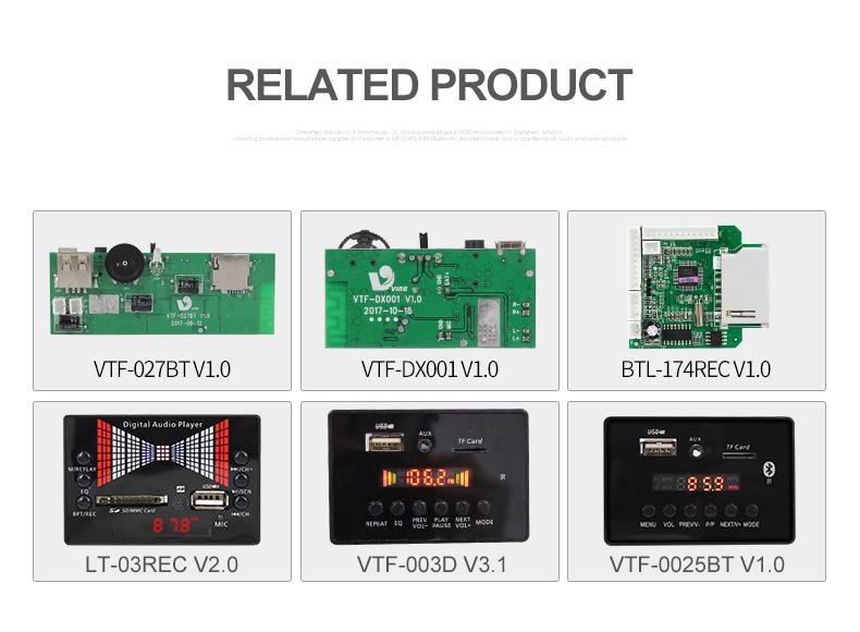 낮은 가격 VTF-108 블루투스 Mp3 디코더 보드 플레이어 모듈