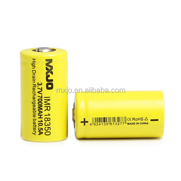 Original MXJO IMR 18350 700MAH 10.5A Button Top Wholesale Prices Yellow Rechargeable 18350 Battery
