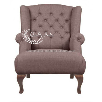 French Style Grey Fabric One Seater