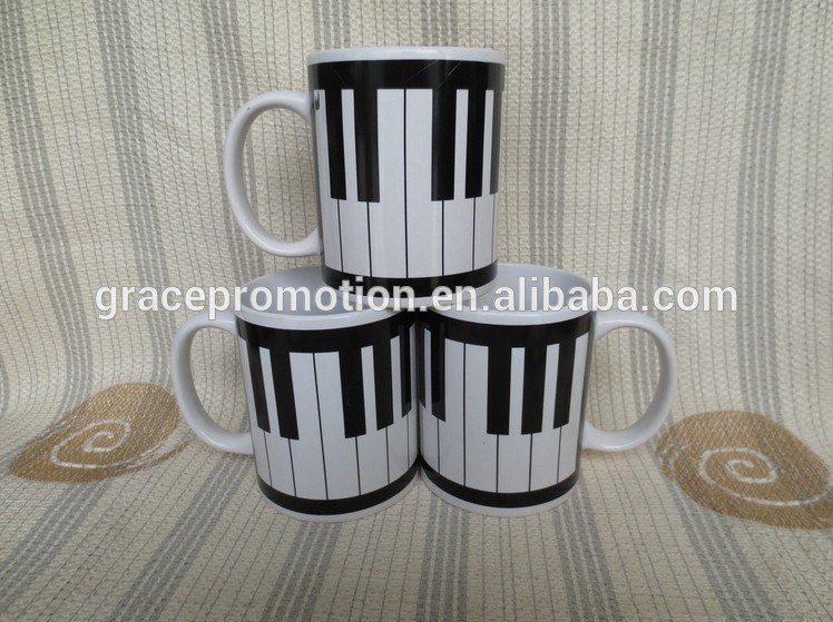 2017 Hot sale design painting black and white piano keys ceramic coffee mug with handle