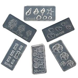 6pcs Cute Acrylic Mold for Nail Art DIY Decoration 3D Design 6 Different Styles