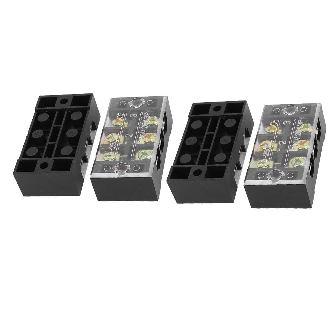 Aexit 4 Pcs 2 Row 3 Position Screw Terminal Block Strip Connector Bar 600V 25A