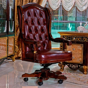 Yb61 Luxury Antique Vintage Chesterfield Leather Office Chair Solid Wood Upholstery Chairs Swivel Boss
