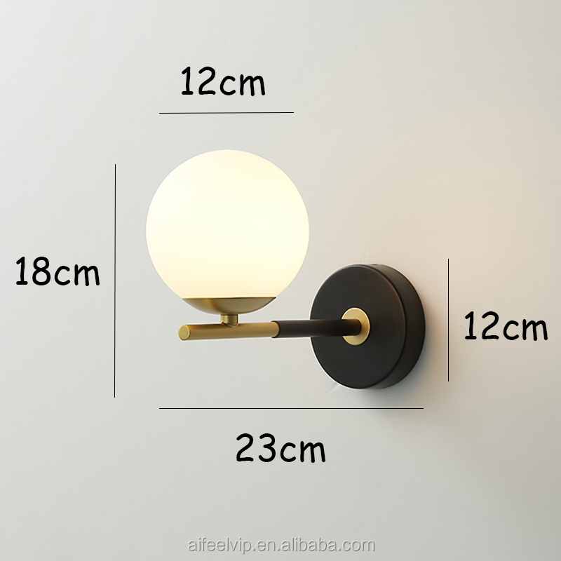 modern milky glass bedside wall lamp metal frame lights for home and wall fitting of bed room