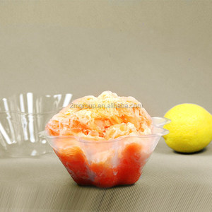 Plastic PET Clear Snow Cone Shave Ice Flower Cup, ice cream bowls