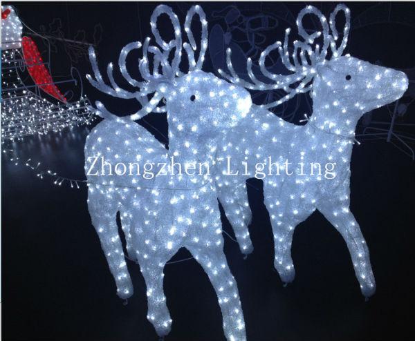 Light up led de santa renne tra neau d coration de no l - Renos de navidad con luces ...