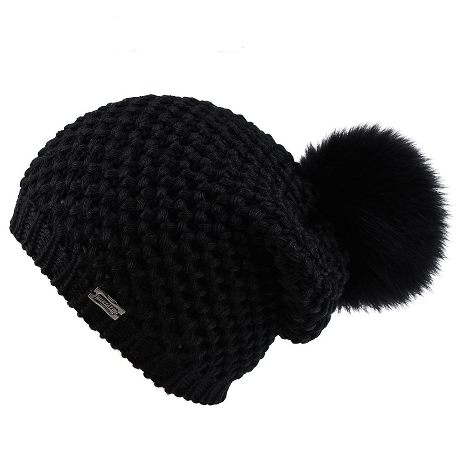 154ab3e4f83380 Get Quotations · FURTALK Winter Knit Pom Pom Hat - Merino Wool Beanie With  Detachable Real Fox Fur Ball