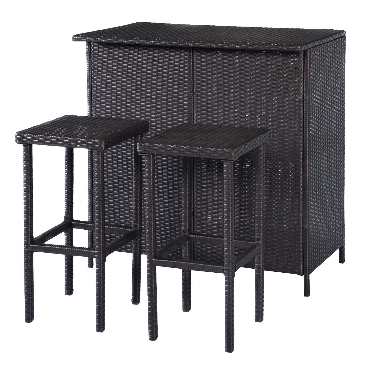 Get Quotations Tangkula 3 Piece Patio Bar Set Rattan Wicker Stools Table For Lawn Pool Backyard
