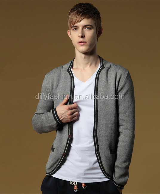 2015 high quality knitted cashmere school cardigan mens