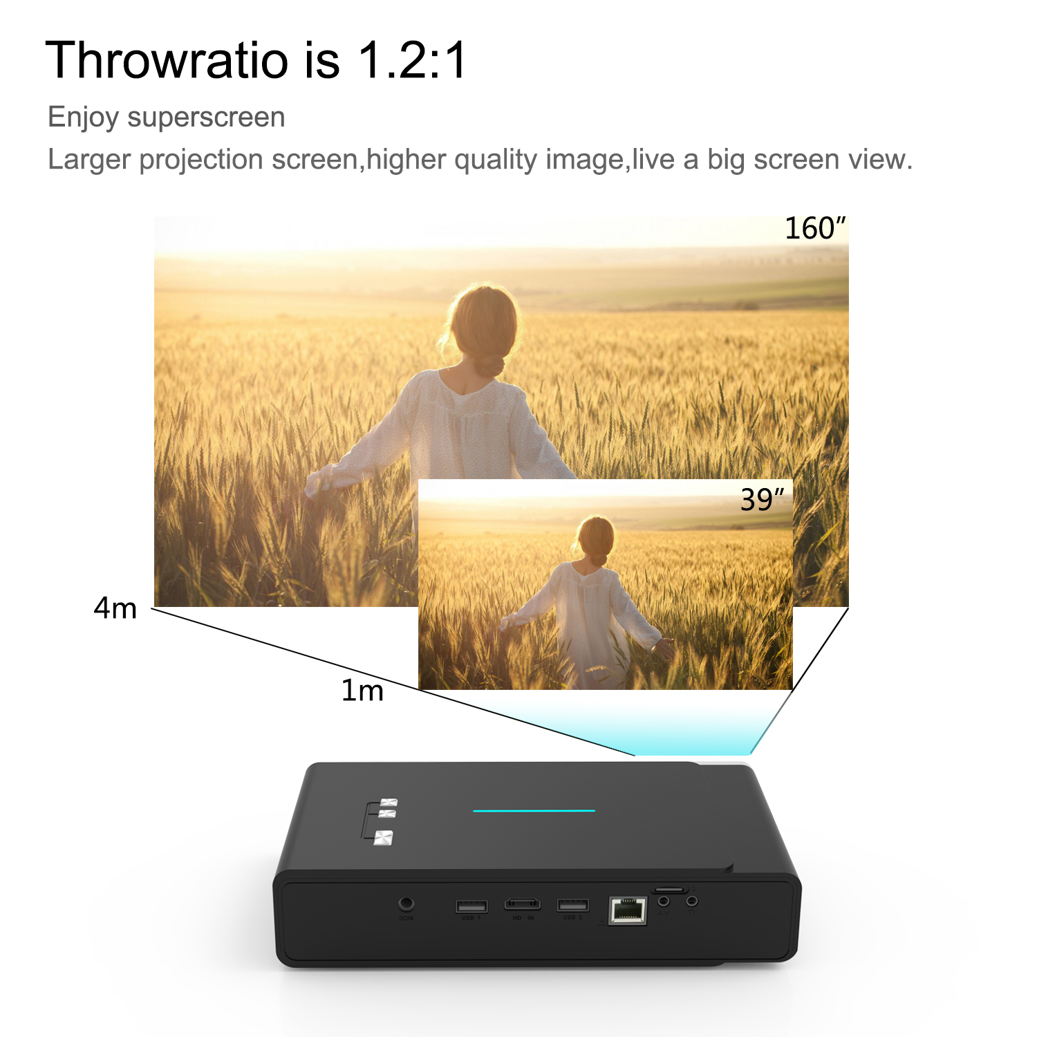 Good Quality Mini Projector HD 3800  lumens Portable Smart Home Theater Support 1080P