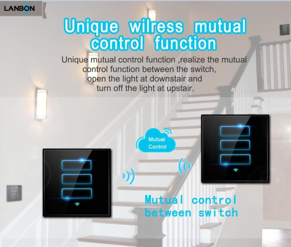 Lanbon 1 Gang 2 Way Lanbon Wireless Wifi Lighting Switch Mutual ...