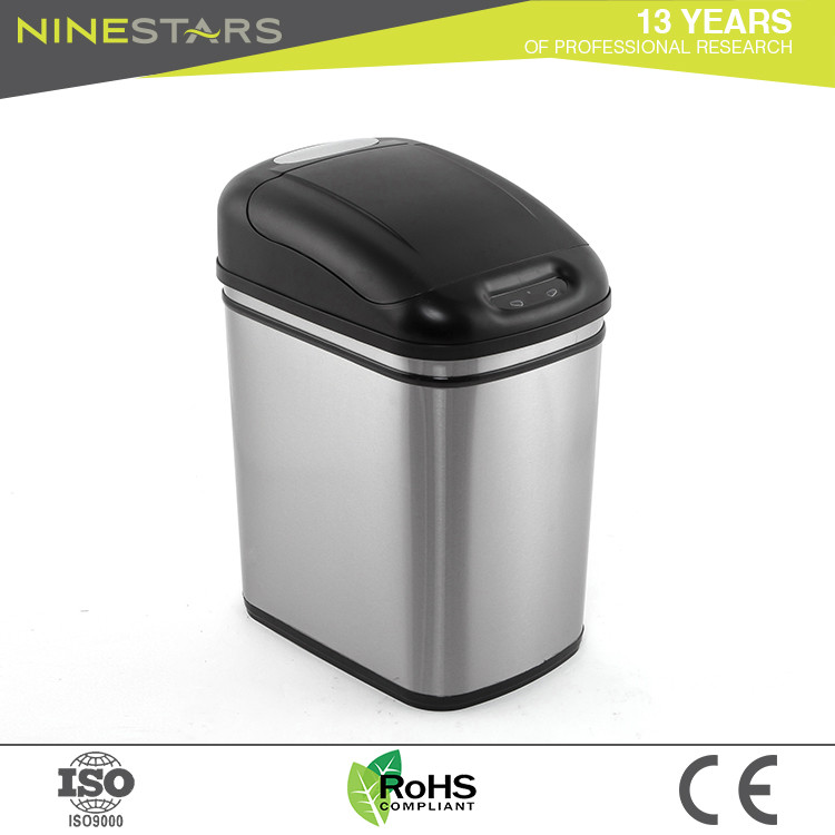 Infrared stainless steel battery buffered cover inductive 24l trash can bin manufacture