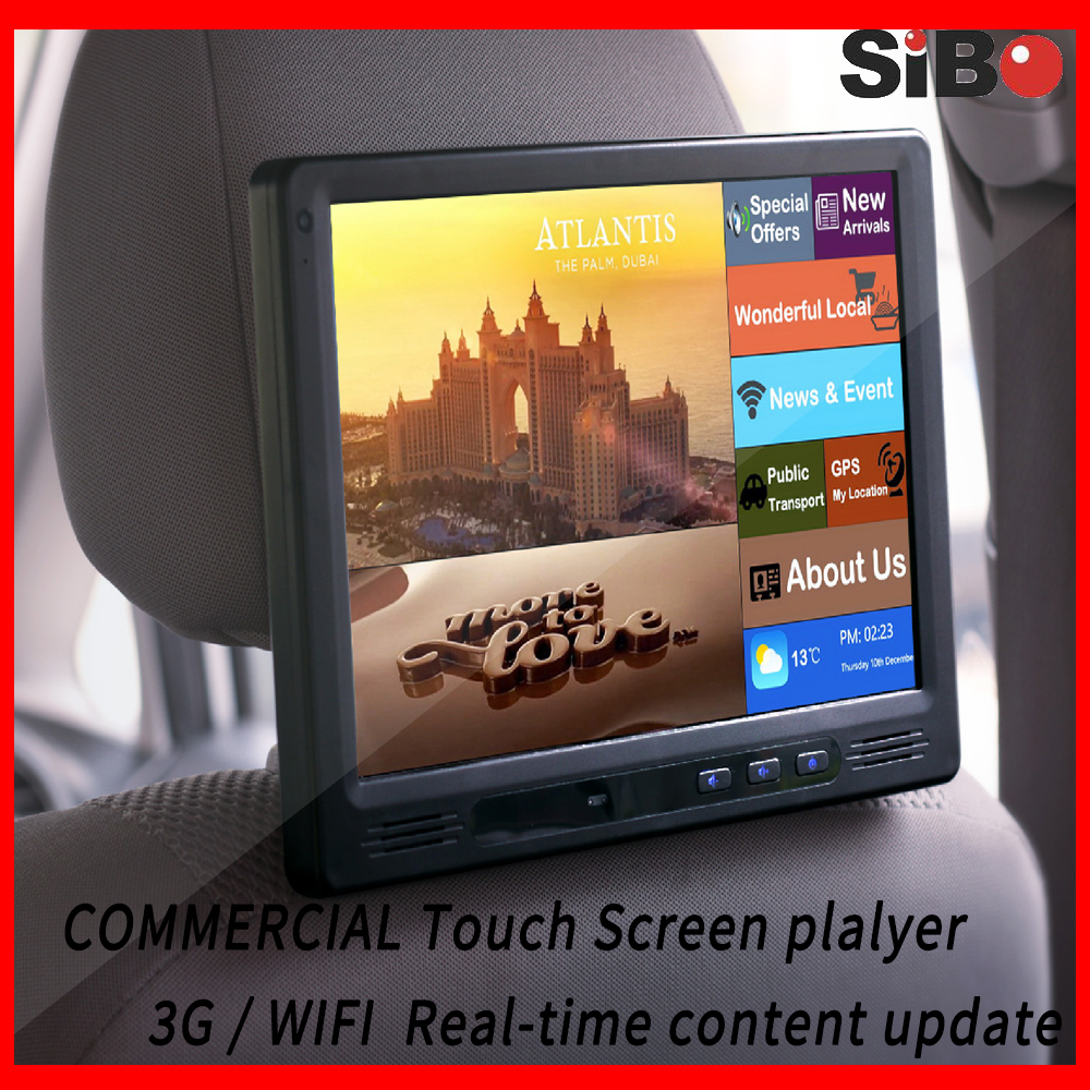Headrest video Ads playing Touch Screen with Content Management System