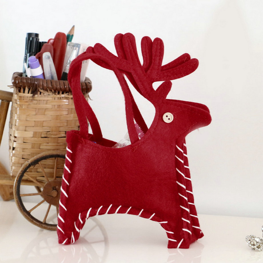 Lovely Christmas Deer Handmade Candy Bags Party Home Christmas Decor Gifts Present Filler  New Arrival