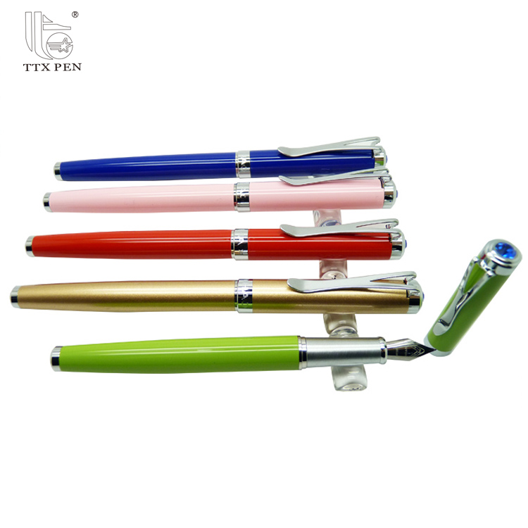 wholesales high quality heavy luxury metal fountain pen with custom logo