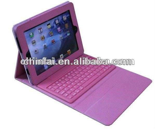 Protective Case Bag Cover Protector With Bluetooth Keyboard for Ipad2/New Ipad Soft Layer Pink