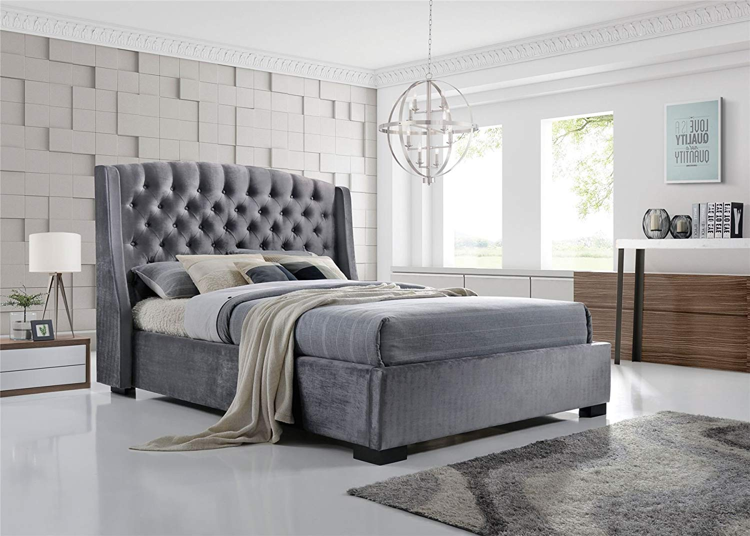 Wing Back Chesterfield King Size Bed Frame Modern Bed Grey Velvet Fabric Button Bed Buy New Model Bed Foam Bed Chesterfield Bed Product On Alibaba Com