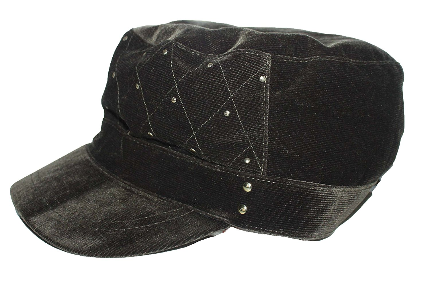 e364c1f9f99 Get Quotations · August Accessories Women s Hat Newsboy Military Cabbie  Corduroy Quilted Brown