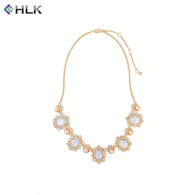 jewelry supplies gold fill leverback kukui nut Tear Drop Paving Crystal Necklace