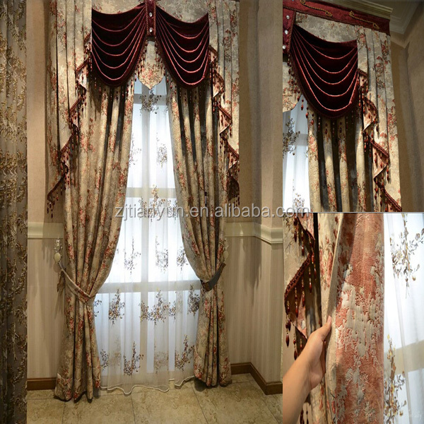 Elegant Jacquard Curtain Attached Valance With Beaded Tassel