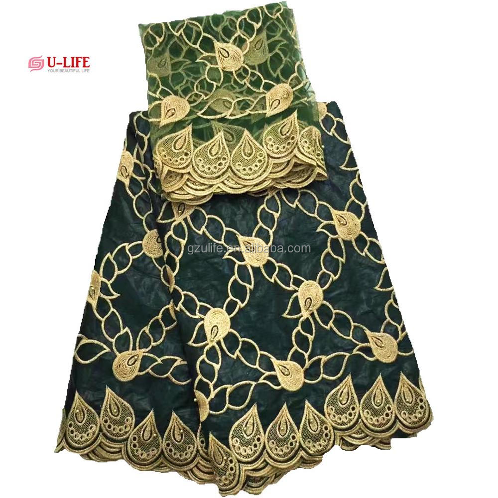 Beautiful Green african bazin Riche Dresses Embroidery with Tulle Net Lace (BL044)