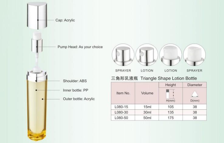 SRS empty blue color 15ml 30ml 50ml luxury acrylic cosmetic packaging bottle