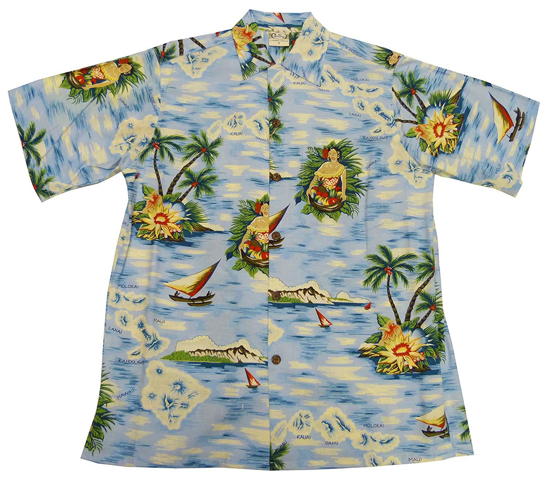 cd6846b1 Get Quotations · Go Barefoot Mens Aloha Maid Vintage Fujiette Rayon Shirt