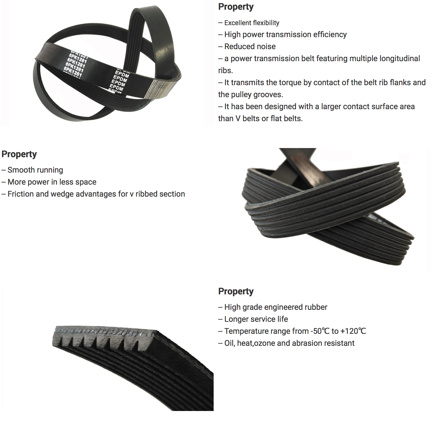 dongil Factory Produced Rubber V Ribbed Belt with 8PK 1550