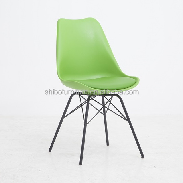 Hot selling modern plastic restaurant dining pp chair with metal painted base