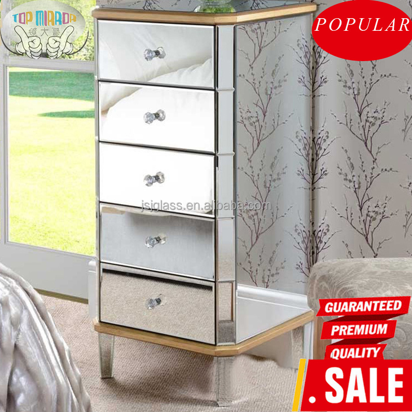 2016 fashion mirrored furniture cheap chest of drawers china factory