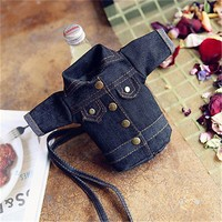 Cute Mini Purse Women Clothes Trousers Shape Jacket Wallet Cell Phone Bag