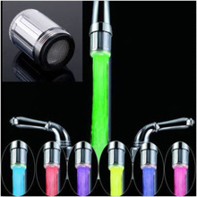 2016 New Fashion LED Water Faucet Stream Light 7 Colors Changing Glow Shower Tap Head Kitchen Temperature Sensor hot selling