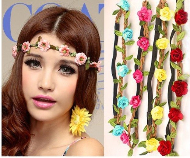 QFS186 hot style Bohemian paper roses hair band The beach wreath South Korea velvet hair hoop