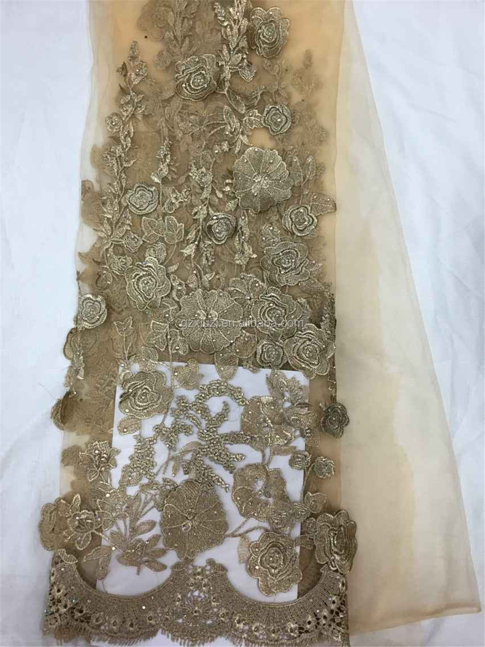 Royal Blue China Latest Designs Sequin Net Fabric Indian
