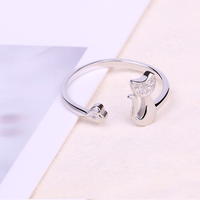 Fashion Shiny Clear Zircon Heart With Cat Animal 925 Sterling Silver Wedding Jewelry Women Finger Ring