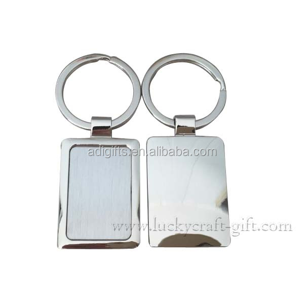 custom logo metal blank sublimation rectangle zinc alloy silver keychains for sale