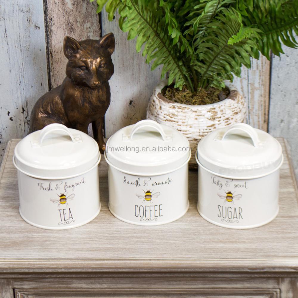 Bee Happy Cream Tea Coffee Sugar Storage Tin Sets Kitchen Canisters ...