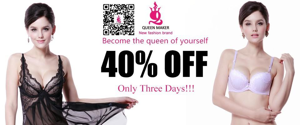 QueenMaker הגברת Ultrathin סקסית חזיית תחרה חישוקי 3/4 כוס החזייה נשים תחתונים 34/36/38/40 B כוס Freeshipping WB001