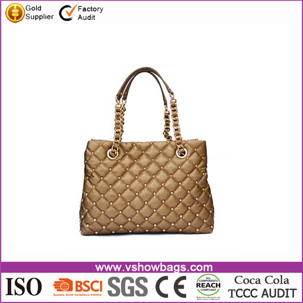 manufacturers chain gold ladies handbag with gold metal studs