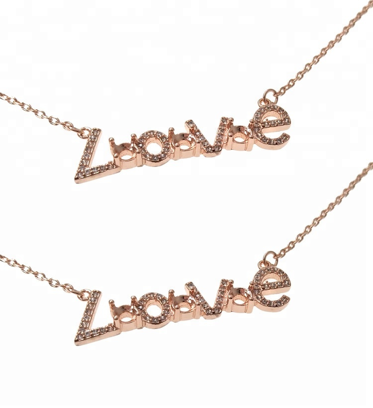 Rose Gold 버 메일 룸 Crystal Love 스크립트 Necklace Sterling Silver 세 돌 Love Word 목걸이