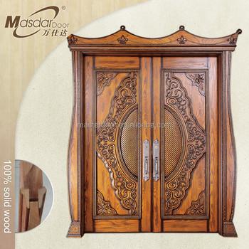 Karachi teak wood front double doors carving designs buy for Doors design indian style