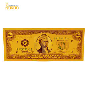 New USD deign 2 gold dollar bill currency banknotes plated 24k pure gold bank notes